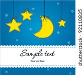 Stock vector bright baby boy arrival card 92110835