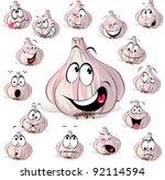 garlic cartoon head with many... | Shutterstock .eps vector #92114594