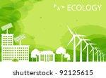 Green Eco city ecology vector background concept - stock vector
