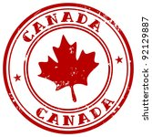 stamp with name of canada | Shutterstock .eps vector #92129887