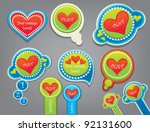decorative vector hearts and... | Shutterstock .eps vector #92131600