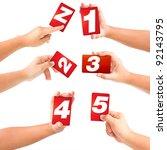 alphabet symbol card in a hand... | Shutterstock . vector #92143795