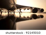 airplane over water in the... | Shutterstock . vector #92145010