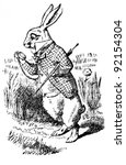 Stock photo white rabbit looking at it s watch illustration from the book alice s adventures in wonderland 92154304