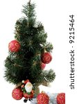 tree; year; new; decoration; christmas; green; pine; celebration; season; winter; claus, santa, adult, one, beard, person, senior, cheerful, clothing, hat, st, men, costume, saint, hand, winking - stock photo