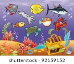 family of funny fish under the... | Shutterstock .eps vector #92159152