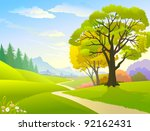 country side trees   hills and... | Shutterstock .eps vector #92162431