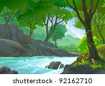 trees by riverside hills and... | Shutterstock .eps vector #92162710