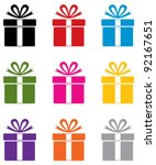 vector set of colorful gift box ... | Shutterstock .eps vector #92167651