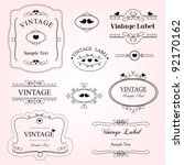 vintage decorative labels | Shutterstock .eps vector #92170162