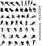 set of winter sport silhouettes | Shutterstock .eps vector #92170309