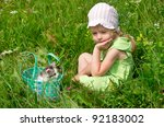 a little girl with the kitten... | Shutterstock . vector #92183002