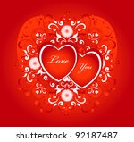 red heart with decorative... | Shutterstock .eps vector #92187487
