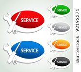 Vector service menu item - oval sticker - stock vector