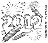 Doodle style 2012 New Year illustration in vector format with fireworks background - stock vector