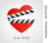 clapper board with heart symbol.... | Shutterstock .eps vector #92197432