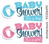 baby shower with foot sticker | Shutterstock .eps vector #92206495