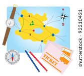 compass  pencils  bus tickets... | Shutterstock .eps vector #92210431
