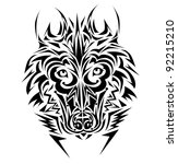 wolf tribal tattoo style | Shutterstock .eps vector #92215210