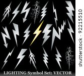 silver lightning set on black.... | Shutterstock .eps vector #92215510