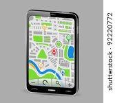 gps navigator in smartphone ... | Shutterstock .eps vector #92220772