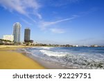 View of Barcelona from the beach of Barceloneta - stock photo