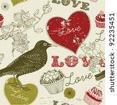 sweet  love bird card | Shutterstock .eps vector #92235451