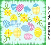 cute easter chickens.vector... | Shutterstock .eps vector #92240704