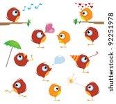 funny cartoon canaries bird set | Shutterstock .eps vector #92251978