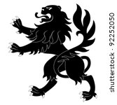black heraldic lion on white... | Shutterstock .eps vector #92252050