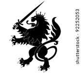 Black Heraldic Lion With Sword...