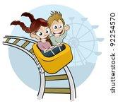 cartoon kids on rollercoaster | Shutterstock .eps vector #92254570