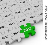 annual jigsaw pieces - stock photo