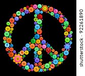 peace sign made from bright... | Shutterstock .eps vector #92261890