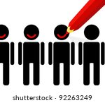 red pencil draws a smile on the ... | Shutterstock .eps vector #92263249