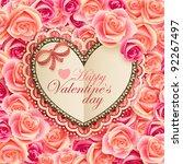 valentine s day vintage card... | Shutterstock .eps vector #92267497