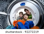 funny boys and mother loading... | Shutterstock . vector #92272219