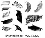 set of bird wings for heraldry... | Shutterstock .eps vector #92273227