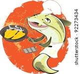 catfish fry cook | Shutterstock .eps vector #92273434