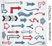 set of sketched arrow shapes on ... | Shutterstock .eps vector #92275621
