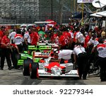 MILWAUKEE, WI - MAY, 29: INDYCAR cars and crew on pit lane before a race, May 29, 2009 in Milwaukee, WI. - stock photo