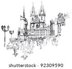 old town square  prague  czech... | Shutterstock .eps vector #92309590