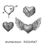 4 hand drawn hearts for...