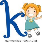 Illustration of a Kid Standing Beside a Letter K - stock vector