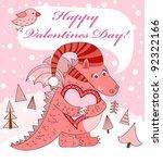 valentine's day. pink dragon... | Shutterstock .eps vector #92322166