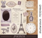 scrapbooking kit  paris  ... | Shutterstock .eps vector #92324665