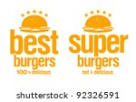best burgers signs set. | Shutterstock .eps vector #92326591