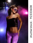Stock photo portrait of dancing girl on disco party 92333608