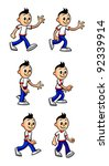 cartoon boy walking | Shutterstock .eps vector #92339914