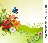 Stock vector springtime background with flowers and butterflies 92342218